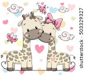 two cute cartoon giraffes on a... | Shutterstock .eps vector #503329327