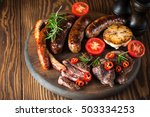 close up photo of mixed grilled ... | Shutterstock . vector #503334253