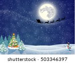 christmas landscape at night.... | Shutterstock .eps vector #503346397
