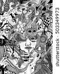psychedelic doodle portrait... | Shutterstock .eps vector #503349973