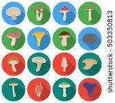 mushroom set icons in flat... | Shutterstock .eps vector #503350813