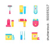 flat icons set of epilation or... | Shutterstock .eps vector #503355217