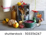 beetroot soup with apple and... | Shutterstock . vector #503356267