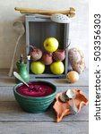 beetroot soup with apple and... | Shutterstock . vector #503356303