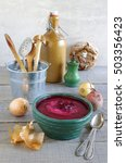 beetroot soup with apple and... | Shutterstock . vector #503356423