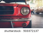 close up headlight of red retro ... | Shutterstock . vector #503372137
