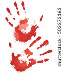 red bloody hand prints with... | Shutterstock .eps vector #503373163