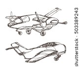 airplane sketches set. hand...   Shutterstock .eps vector #503389243