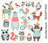 christmas set with cute animals ... | Shutterstock .eps vector #503397403