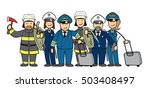 group of cartoon people in... | Shutterstock . vector #503408497