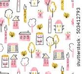cartoon town seamless pattern.... | Shutterstock .eps vector #503412793
