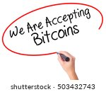 Small photo of Women Hand writing We Are Accepting Bitcoins with black marker on visual screen. Isolated on white. Business, technology, internet concept. Stock Photo