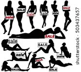 silhouettes of beautiful slim... | Shutterstock .eps vector #503437657