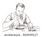 sketch om man eating food hand... | Shutterstock .eps vector #503439217