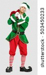 christmas elf and photo with... | Shutterstock . vector #503450233