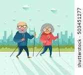 seniors nordic walking. old man ... | Shutterstock .eps vector #503451277