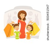 happy woman with kids on... | Shutterstock .eps vector #503451547