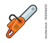 hand chainsaw icon on white...