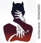 hand drawn beautiful silhouette ... | Shutterstock .eps vector #503465683
