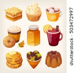 delicious caramel desserts. hot ...   Shutterstock .eps vector #503472997