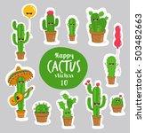 funny cactus stickers. vector... | Shutterstock .eps vector #503482663