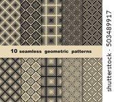 10 seamless geometrical... | Shutterstock .eps vector #503489917