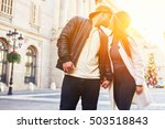 stylish young couple of hipster ... | Shutterstock . vector #503518843