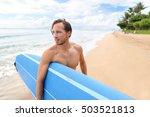 surfer man carrying longboard... | Shutterstock . vector #503521813
