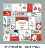 christmas advent calendar  cute ... | Shutterstock .eps vector #503549023
