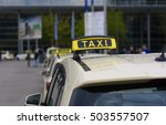 a large number of taxis waiting ... | Shutterstock . vector #503557507