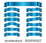 blue ribbons set. satin blank... | Shutterstock .eps vector #503559337