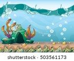 cartoon vector underwater... | Shutterstock .eps vector #503561173