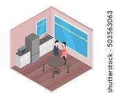 vector isometric office  kitchen | Shutterstock .eps vector #503563063