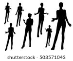 gesturing woman silhouettes | Shutterstock .eps vector #503571043
