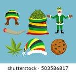 rasta new year icons set. santa ... | Shutterstock .eps vector #503586817