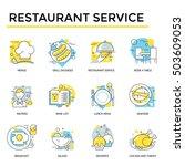 restaurant icons  thin line ... | Shutterstock .eps vector #503609053