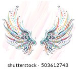 patterned wings on the grunge... | Shutterstock .eps vector #503612743