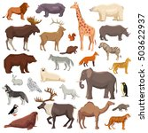 Big Flat Set Of Wild Animals...