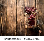 red wine with a sprig of grapes ... | Shutterstock . vector #503626783
