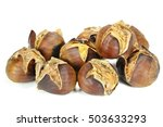 roasted chestnuts isolated on... | Shutterstock . vector #503633293