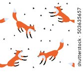 red foxes on the white snow... | Shutterstock .eps vector #503635657