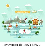 flat design vector nature... | Shutterstock .eps vector #503645437