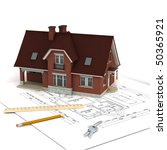 house on floor plan  with ruler ... | Shutterstock . vector #50365921