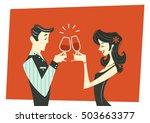 toasting couple   illustration | Shutterstock .eps vector #503663377