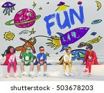 kids imagination space rocket... | Shutterstock . vector #503678203