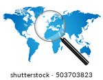 world map magnifying glass... | Shutterstock .eps vector #503703823
