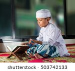 asian muslim child with smile... | Shutterstock . vector #503742133