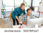 two office workers at the desk | Shutterstock . vector #503789167
