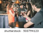 handsome drunk man sitting at...   Shutterstock . vector #503794123