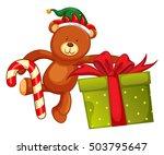 teddy bear and christmas... | Shutterstock .eps vector #503795647